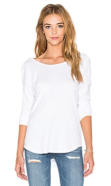 James Perse Brushed Jersey Cowl Back Top in White