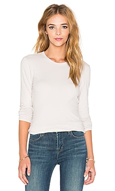 James Perse Brushed Jersey Long Sleeve Tee in Silver