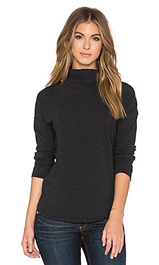 Relaxed Curve Hem Turtleneck en Anthracite Chiné