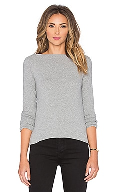 James Perse Jersey Boatneck Tee in Heather Grey