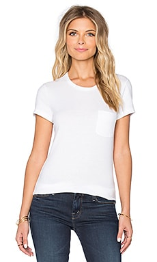 James Perse Skinny Brushed Jersey Pocket Tee in White