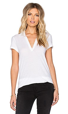 James Perse Cationic Textured Polo Tee in White