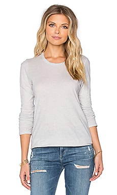 James Perse Textured Cationic Long Sleeve Tee in Silver