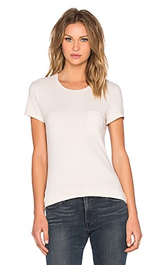 James Perse Skinny Brushed Jersey Pocket Tee in Pink Hue