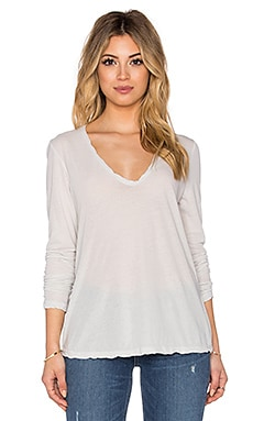 Heather High Gauge Jersey Long Sleeve Tee in Powder