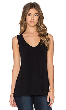James Perse A-Line Viscose Blend Tank in Black