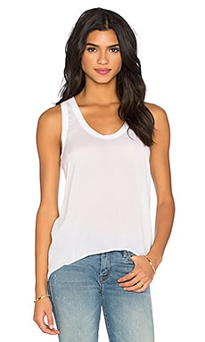 James Perse High Low Soft Woven Tank in White