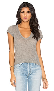 James Perse High Gauge Jersey Deep V Tee in Heather Grey