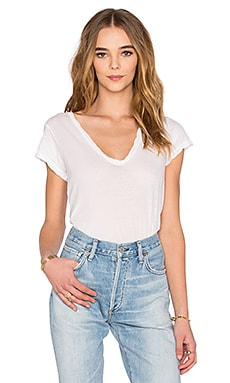 High Gauge Jersey Deep V Tee in White