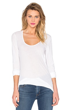 Stretch Jersey U-Neck Tee en Blanc