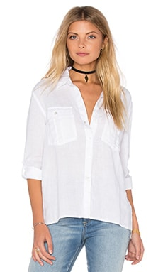 Pocket Button Up Top in White