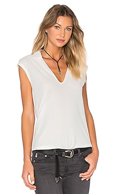 James Perse Cap Sleeve Polo Top in White