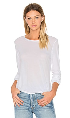 James Perse Long Sleeve Crew Neck Tee in White