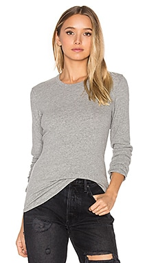 Brushed Jersey Long Sleeve Tee en Gris Chiné