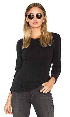 Brushed Jersey Long Sleeve Tee in True Black