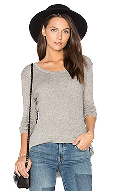Cashmere Rib Tee in Heather Grey