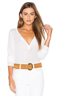 Button Down Henley in White
