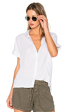 Short Sleeve Linen Button Up in Grey & White
