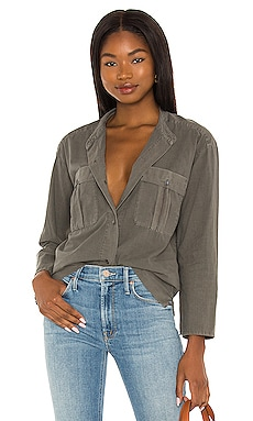 Cropped Linen Military Shirt James Perse $175