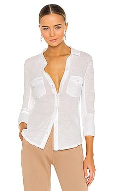 Slub Side Panel Button Front Shirt in White