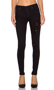 James Jeans James Twiggy Legging in Flat Black Distressed