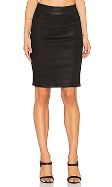 James Jeans Slip-On Pencil Skirt in Black Glossed