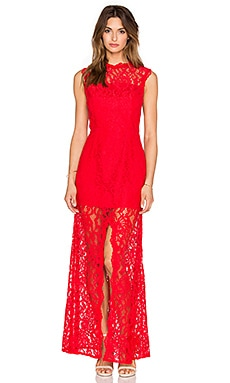 JARLO Lace Gown in Red