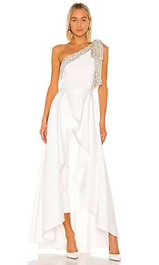 Gavin Jumpsuit With Satin Overskirt Jay Godfrey $495 Wedding