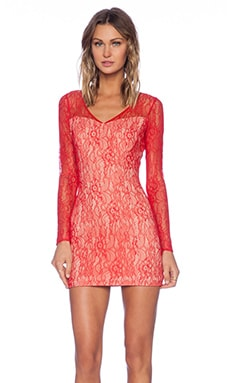 Jay Godfrey Montoya Lace Dress in Red & Nude