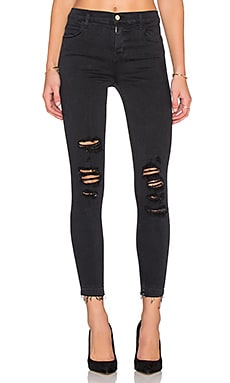 J Brand Alana High Rise Crop in Demented Black