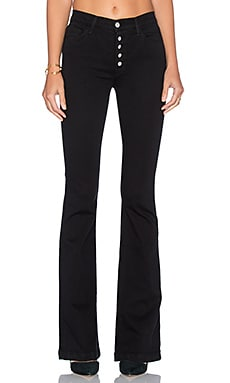 J Brand Maria Exposed Button Flare in Seriously Black