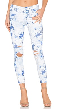 J Brand Low Rise Ankle Crop in Demented Blue Forest Print