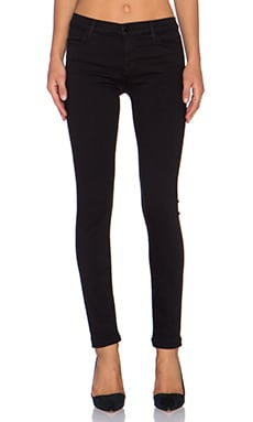 J Brand Mid Rise Super Skinny in Black Shadow