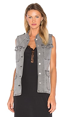 J Brand Astrid Utility Vest in Distressed Silver Fox