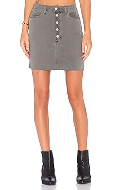 J Brand Rosalie Button Front Skirt in Distressed Silver Fox