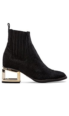 Jeffrey Campbell Dempsy Bootie with Cow Hair in Black & Gold
