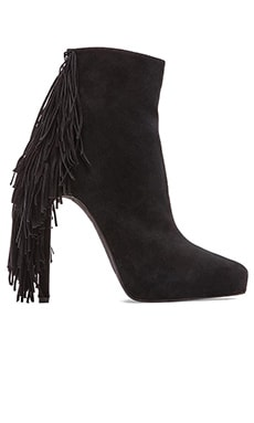Jeffrey Campbell Sampson Fringe Heeled Bootie in Black Suede