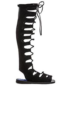 Jeffrey Campbell Olympus Gladiator Sandal in Black Embossed Numbuck