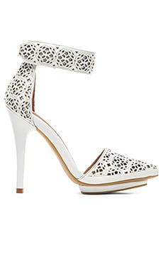 Jeffrey Campbell Soltr Heel in White Celtic Knot Cut