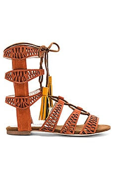 Jeffrey Campbell Redondo Sandal in Orange Suede Multi