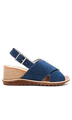 Sardis Sandal in Dark Blue Denim