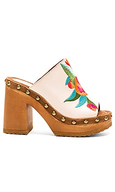 Woodrow Heel in Natural Tan Suede Multi