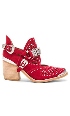 Jeffrey Campbell Calhoun Booties in Red Suede Silver