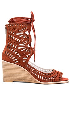 Jeffrey Campbell Rodil Wedge in Rust Suede