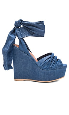 Jeffrey Campbell Xenobia Wedge in Blue Fabric