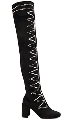 Jeffrey Campbell Cienega Boot in Black Suede Silver