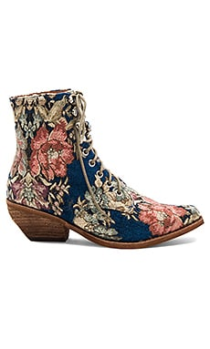 x REVOLVE Elmcroft Booties in Blue Beige Tapestry