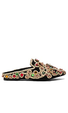 Sarika Slide in Black Suede & Multi Gold