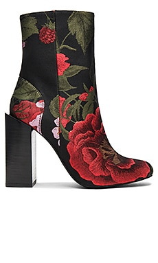 Stratford Booties in Black Red Floral Brocade