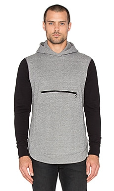 John Elliott + Co Rue Hoodie in Dark Grey Duo